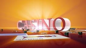与芯片的赌博娱乐场文本切成小方块和落的卡片,阿尔法通道,储蓄英尺长度 库存例证