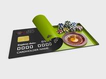 与芯片的赌博娱乐场轮盘赌在信用卡3d例证 图库摄影