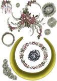 与花、叶子、首饰细节和刺绣的圆的框架 库存例证