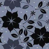 与花、叶子和星的典雅的无缝的样式 库存照片