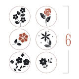 与花、叶子和蝴蝶剪影的花卉集合 向量例证