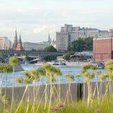与花、河和大厦的市中心 图库摄影