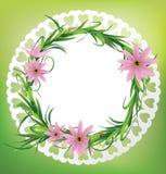与花、草和瓢虫的圆的卡片 库存照片