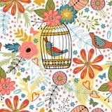 与花、鸟笼和鸟的典雅的样式 免版税库存图片