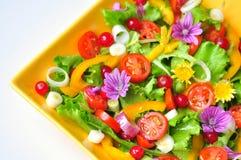 与花、水果和蔬菜的沙拉 免版税库存图片
