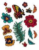 与花传染媒介刺绣元素的蝴蝶 库存图片