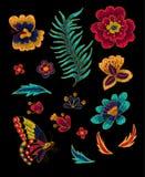 与花传染媒介刺绣元素的蝴蝶 免版税库存图片