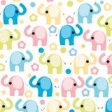 与花传染媒介的五颜六色的大象 免版税库存图片
