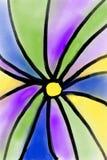 与花卉主题的明亮的颜色样式,使人想起彩色玻璃 向量例证