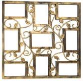 与花卉伪造的装饰品的元素的古色古香的金黄照片框架 设置9九个框架 背景查出的白色 免版税库存照片