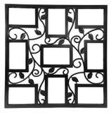 与花卉伪造的装饰品的元素的古色古香的黑照片框架 设置9九个框架 背景查出的白色 库存图片
