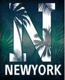 与花卉例证的纽约印刷术 T恤杉图表 库存照片