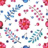 与花卉元素的水彩无缝的样式在白色背景 库存例证