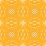 与花卉元素蔓藤花纹的无缝的橙色抽象几何样式 库存例证