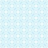 与花卉元素蔓藤花纹的无缝的蓝色抽象几何样式 向量例证