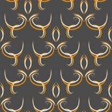 与花卉元素蔓藤花纹的无缝的黑抽象东方样式 向量例证
