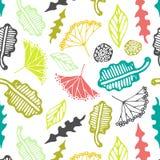 与花卉元素和叶子的无缝的样式 抽象背景向量 免版税库存照片