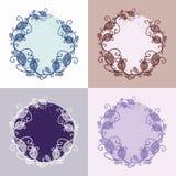 与花卉元素的传染媒介装饰圆的框架 库存照片