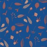 与花卉元素的典雅的无缝的样式在时髦蓝色背景 库存图片