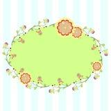 与花卉元素的卵形框架,邀请的,明信片模板 库存图片