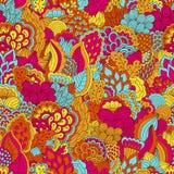 与花卉元素的手拉的无缝的样式 免版税库存图片