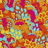 与花卉元素的手拉的无缝的样式 免版税库存照片