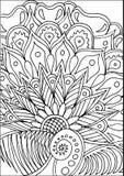 与花卉元素的手拉的着色 免版税库存照片