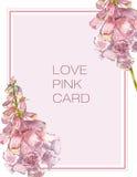 与花卉元素的爱桃红色卡片 库存例证