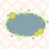 与花卉元素的蓝色卵形框架,邀请的模板 库存图片