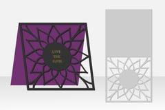 与花卉几何样式的卡片激光切口的 剪影设计 向量例证