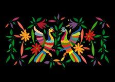 与花卉刺绣和孔雀手工制造密林的动物的种族墨西哥挂毯 天真印刷品民间装饰 拉丁语,西班牙语 向量例证