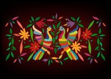 与花卉刺绣和孔雀手工制造密林的动物的种族墨西哥挂毯 天真印刷品民间装饰 拉丁语,西班牙语 库存例证