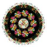 与花卉刺绣和孔雀手工制造密林的动物的种族墨西哥挂毯 天真印刷品民间装饰 拉丁语,西班牙语, 库存例证