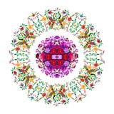 与花卉刺绣和孔雀手工制造密林的动物的种族墨西哥挂毯 天真印刷品民间装饰 拉丁语,西班牙语, 皇族释放例证