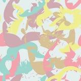 与花卉剪影的抽象无缝的样式 图库摄影