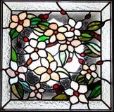 花卉彩色玻璃盘区 库存图片