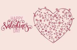 与花卉华丽心脏和字法的装饰华伦泰贺卡 免版税库存图片