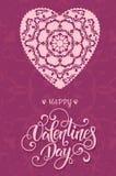 与花卉华丽心脏和字法的装饰华伦泰贺卡 免版税库存照片