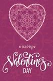 与花卉华丽心脏和字法的装饰华伦泰贺卡 库存图片