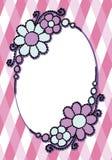 与花卉卷毛和d的简单的色的被绘的传染媒介卵形框架 图库摄影