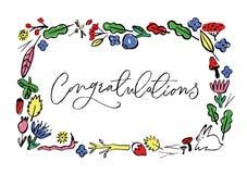 与花卉和动物元素和祝贺的题字的一个框架 皇族释放例证