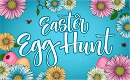 与花卉和蛋装饰的五颜六色的复活节彩蛋狩猎书法词组 皇族释放例证