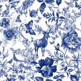 与花卉和野生动物的葡萄酒无缝的设计 童话森林手拉的样式玫瑰开花线图表 库存例证