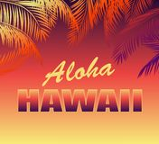 与花卉喂夏威夷字法的热带霓虹背景和T恤杉、党海报和其他desig的棕榈叶剪影 免版税库存照片
