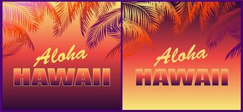 与花卉喂夏威夷字法的热带霓虹背景和T恤杉,党邀请和其他的棕榈叶剪影 库存照片