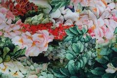 与花卉图案的多彩多姿的织品 库存图片