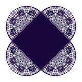 与花卉坛场样式和装饰品的葡萄酒卡片 传染媒介飞行物东方设计版面模板 回教,阿拉伯语,印地安语 免版税库存照片