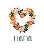 与花卉心脏和字法- `我爱你`的手拉的华伦泰卡片 传染媒介花卉框架设计 库存照片