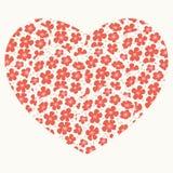 与花卉心脏的浪漫卡片 免版税库存照片