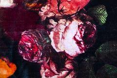 与花卉抽象样式的针织品织品 免版税库存照片